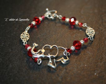 "Bracelet with large silver metal ""elephant"" charm and Red Crystal beads"