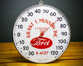 "1940's 50's Vintage FORD Tractor Advertising Glass 12"" Thermometer Sign Round Fort Wayne, Indiana Car Truck Automobile Automotive Stars Red"