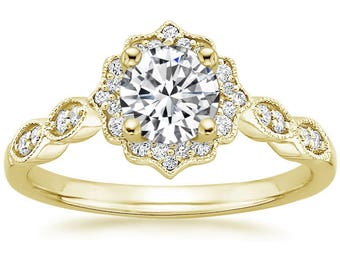 Swing Halo Forever Brilliant Moissanite Engagement Ring in Yellow Gold