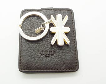 Links of London Olympic Union Jack Silver Key Ring with Leather Case