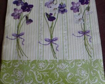 5 purple paper, paper flowers spring towel napkins