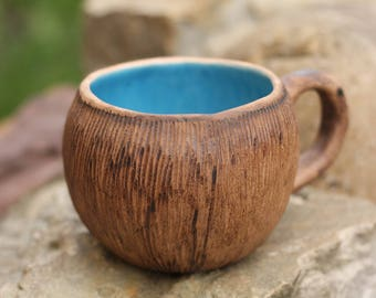 Coconut mug Coffee mug Tea cup Gift for wife Rustic mug Blue gift Housewarming gift Gift|for|hostess Girlfriend gift  Womens gift Unique mug