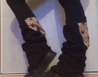 Leggings Black & cotton Fleece Sweatshirt asanoha