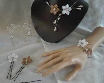 set 11 white / Brown cappuccino silk flower beads wedding evening bridal parties