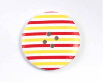 Button yellow and red striped wood 4 cm