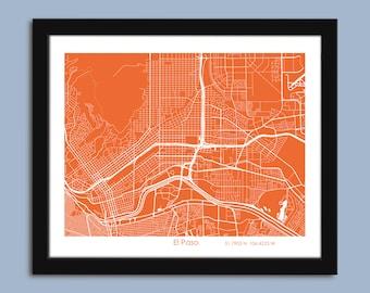 El Paso map, El Paso city art map, El Paso wall art poster, El Paso, Texas decorative map