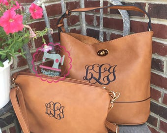 Bucket style purse with crossbody matching purse, personalized Purse, monogrammed purse