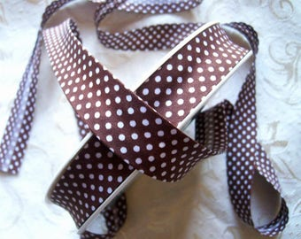 20 mm Brown and white polka dots cotton fabric - for sale by the yard