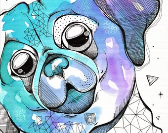 Henry the Galaxy Pug - original watercolor pug dog painting