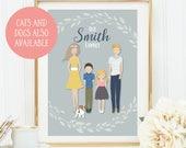 Valentines Gift Personalised, Custom Family Portrait, Family Portrait Illustration, Family Portrait Personalised, Family Portrait Printable