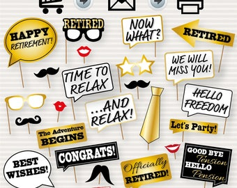 Retirement Party Printable Photo Booth Props - Retirement Party Photobooth Props - Retirement Party Decorations - Retirement Photo Props DIY