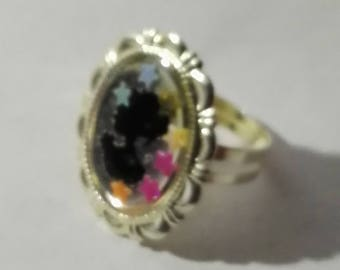 Black cameo ring and star multi color