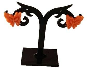 orange acrylic butterfly earrings