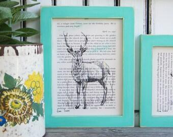 Framed Deer Print, Dictionary Art, Deer Decor, Book Art, Woodland Animals Decor, Woodland Nursery, Nature Print, Dictionary Art Print