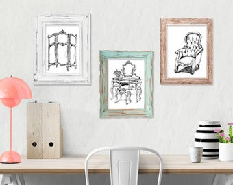 Antique Furniture Printables, Set Of 3, Black And White Prints, Rustic Kitchen Decor, Country Chick, Farmhouse Wall decor, Gift Under 15