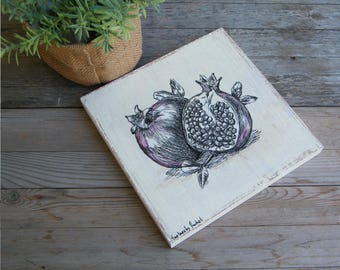 Pomegranate Kitchen Decor, Black and White Print, Jewish Art, Kitchen Wood Sign, Pomegranate Sketch, Biblical Wall Art, Botanical Art