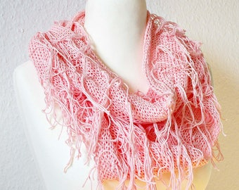 Fringed scarf knit scarf Fringed shawl Cotton fringe scarf Casual fall scarf with fringe Vegan scarf Hipster boho scarf Bohemian scarf cowl