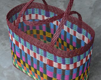 Woven Guatemalan Maroon Mosaic Plastic Beach Bag - Market Basket Strong Resistant Bag Bright Colors