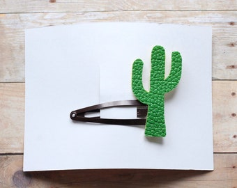 Cactus faux leather hair barrette, Cactus hair Clip, Handmade hair barrette. Summer Barrette, Cinco de Mayo. Baby and toddler accessories.
