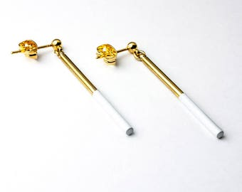 Earrings gold and white