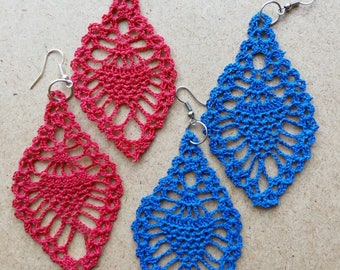 Lace Earrings - Hand Crocheted - Gypsy - Boho - Tribal - Gift for her