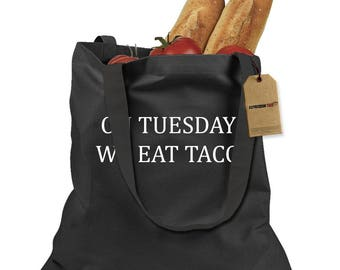 On Tuesdays We Eat Tacos Shopping Tote Bag