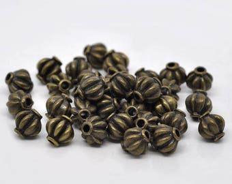 10 8mm bronze spacer beads