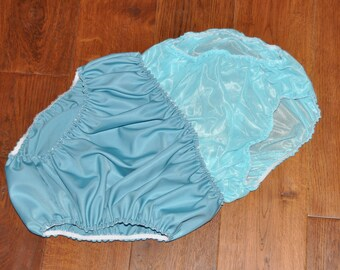"SS 309 - DOUBLE layered slithery nylon panties inside panties, to 38"",  Sissy Lingerie"