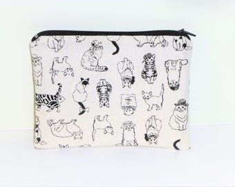 Cat Coin Purse, Black Cat Make-up Bag,  Zippered Coin Purse,  Black Cat Coin Purse, Gift for her, Cat Change Purse, Birthday gift for girls