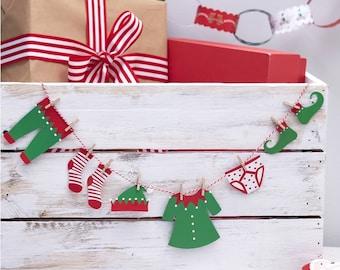 Christmas Washing Line Kit - Mini Elf Clothes Bunting Kit