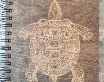 Sea Turtle Etched Wooden Notebook