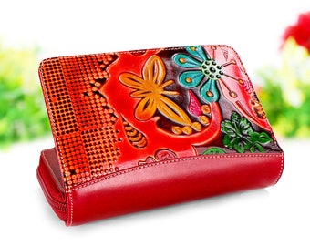 Red leather Wallet, Leather purse,  Red handbags, red wallet, red color leather, Handmade Wallet