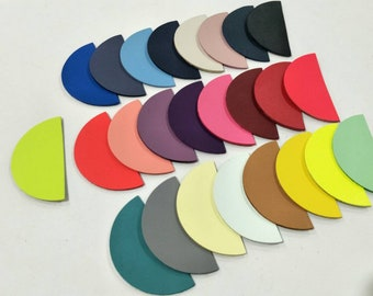 """Leather Half Circles, 64 mm.(2.5""""), 50 pcs., (25 Pairs) Mixed Colors, Half Circles Die Cut, Half  Circles Shape, Half Circles Cut Outs."""