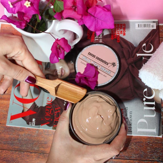Sale French Pink Clay Face Mask - repairing mask for sensitive skin- all skin types - natural skin whitening treatment