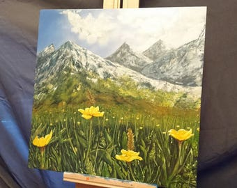 Mountain Painting, Yellow Flower Painting, Original Acrylic Landscape Painting, Original Art, Alaska, Buttercup