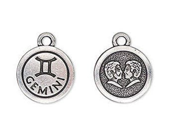 Gemini Charm, Antiqued Silver, Astrological Charm, Zodiac Charm, Pendant, 15mm, 1 Each, D1063