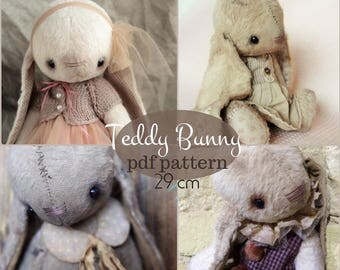 PDF Teddy Bunny Pattern 29 cm, instant download, stuffed toy, artist toy, hare, rabbit, vintage