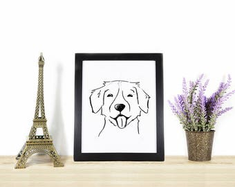 Golden Retriever Illustration - Dog Portrait in Black and White