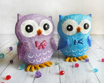 Owls, Owls Sculpture, Cute Owls Decor, Set Of Two, Paper Mache Owl, Owl Figurine, Owl Gift, Owl Nursery Decor, Paper Mache Animal, Kids Gift