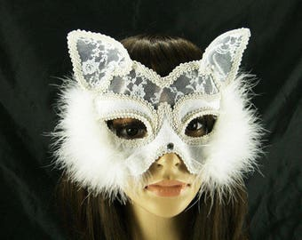 Pretty lace masquerade mask flower and feather with marabou feather #MA17005
