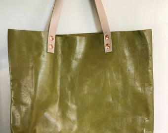 Slouchy green leather tote