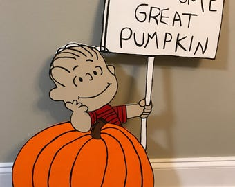 PRICE REDUCED / Welcome Great Pumpkin / Linus / Charlie Brown / Peanuts / Snoopy / Fall Yard Art / Halloween Decorations