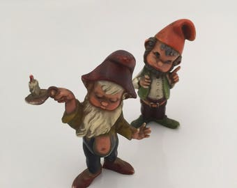 Gnomes Figurines/ 1950s Miniature Gnomes.