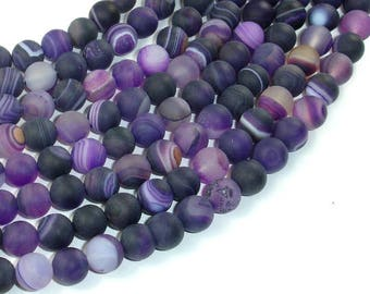 Matte Banded Agate Beads, Purple, 8mm(8.5mm) Round Beads, 15 Inch, Full strand, Approx 47 beads, Hole 1mm (132054011)