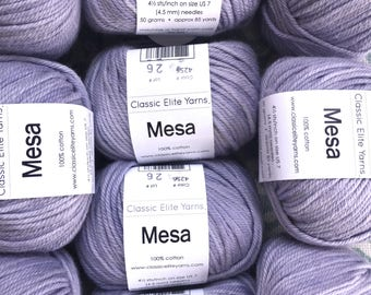 CEY MESA Yarn 100% Cotton Worsted Weight Yarn - Thistle Violet 4256 - Tight Twist 6.99 +.99ea to Ship Great Stitch Definition & Form.