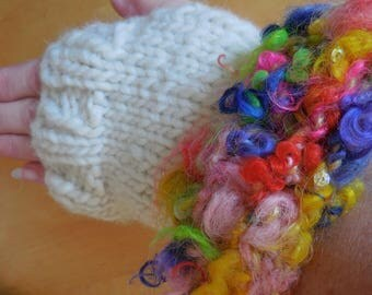 Pretty colorful knitted fingerless hand