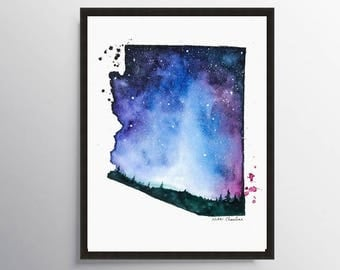 Arizona Map, State map, Map poster, Map art, Watercolor Painting, Galaxy art, Illustration, State Print, Modern Wall art, Long distance art