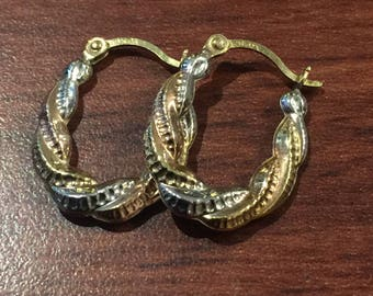 Tri-Colour (Yellow, Rose & White Gold) Vintage Hoop Earrings