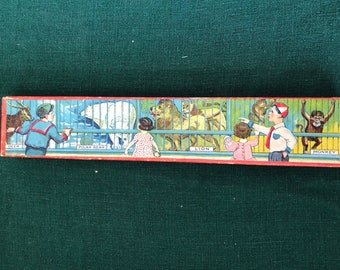 Old Paper Pencil Box with Zoo Lithograph Cover