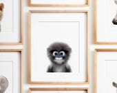 Monkey print, Nursery animal print, PRINTABLE art, Safari animal nursery, Nursery decor, Animal art, Baby animals, Nursery prints, Wall art
